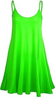 Women's Sleeveless Plain Strappy Floaty Flared Swing Dress Long Top
