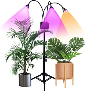 Floor Grow Lights with Stand,Full Spectrum Tri-Head 66 LEDs Plant Light for Indoor Plants,Timing 3/9/12H,Tripod Adjustable 15-47 inch