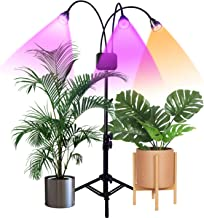 Floor Grow Lights with Stand,Full Spectrum Tri-Head 66 LEDs Plant Light for Indoor Plants,Timming 3/9/12H,Tripod Adjustable 15-47 inch