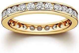 1 1/2 CT Channel Set Eternity Diamond Ring 14K Yellow Gold