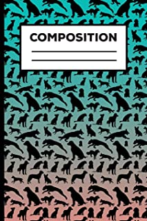 Composition: Dog Blue And Black Composition Notebook For Boys, Girls, School Students, Teachers 6 x 9 Inch