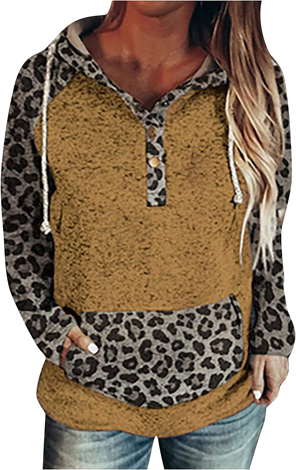 Womens Button Down Shirt Leopard Comfy Hoodie Color Block Pullover Long Sleeve with Pocket Trendy Sweatshirts