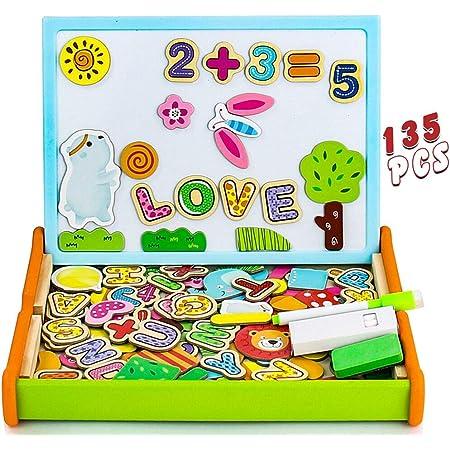 Puzzle Magnetico Legno Giocattolo di Legno,Lavagna Magnetica per Bambini 3 4 5 Anni,Lavagna Magnetica Doppia Faccia con Lettere Numero Animali,Giochi Mmontessori Educativo Natale Regalo-135 Pezzi