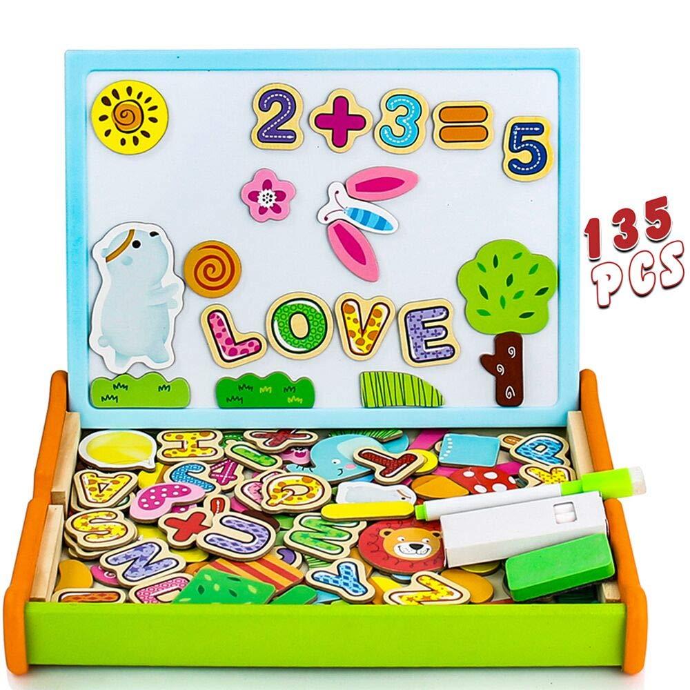 Pizarra Magnetica Infantil 135 Piezas Puzzle Rompecabezas Magnetico Madera Tablero de Dibujo de Doble Cara Juguetes Educativos para Niños 3 4 5 Años (Número y Letra): Amazon.es: Juguetes y juegos