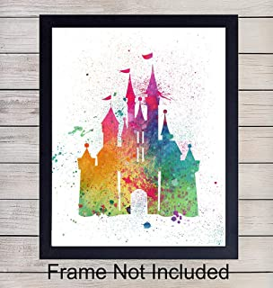 Disney Castle Watercolor Wall Art Print - Perfect Gift For Boys and Girls Rooms, Disney World Fans - Disneyworld - Great For Home Decor - Ready to Frame (8X10) Photo