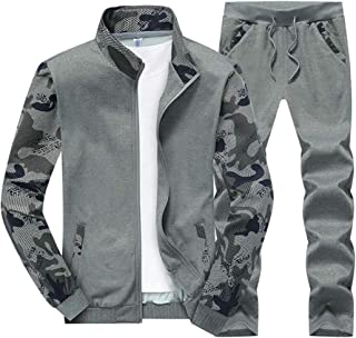 Maweisong Men's Camo Print Tracksuit Full-Zip Running Jogging Sports Jacket and Pants