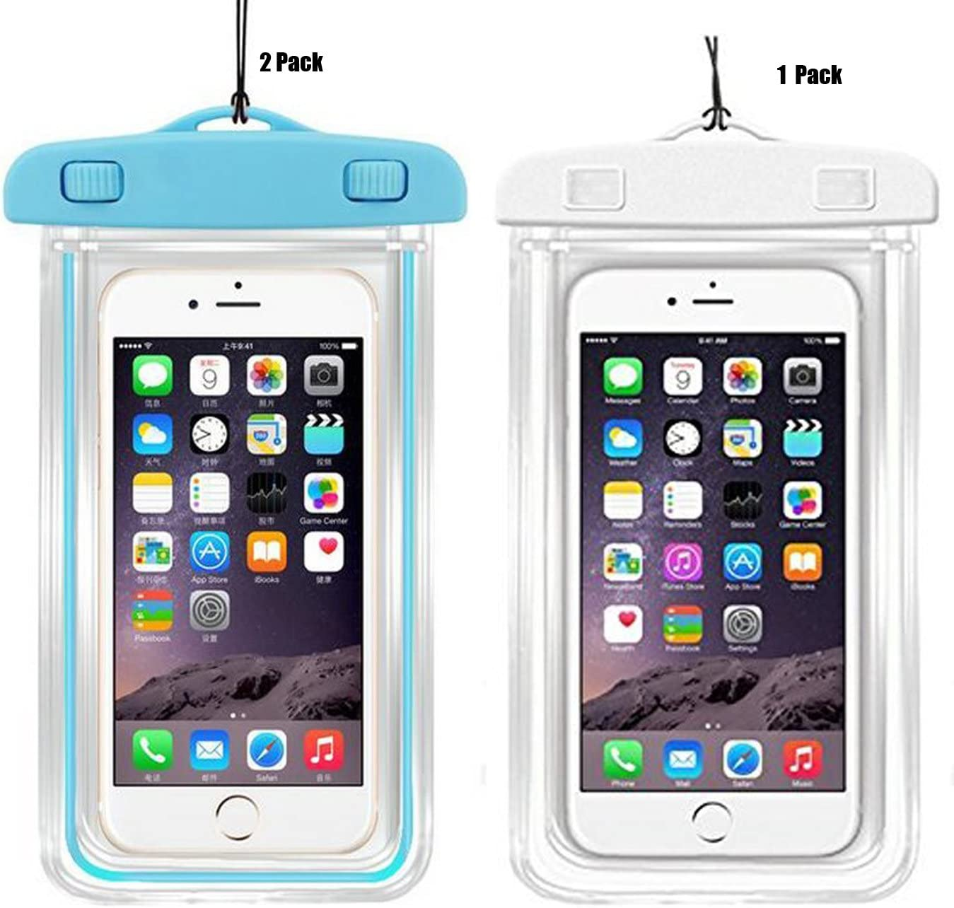 3Pack Universal Waterproof Case, CaseHQ Clear Transparent Cellphone Waterproof, Dustproof Dry Bag with Neck Strap for iPhone 8,8plus,7,7 Plus,6S,6S Plus,Google Pixel,and All Devices Up to 5.8 Inches
