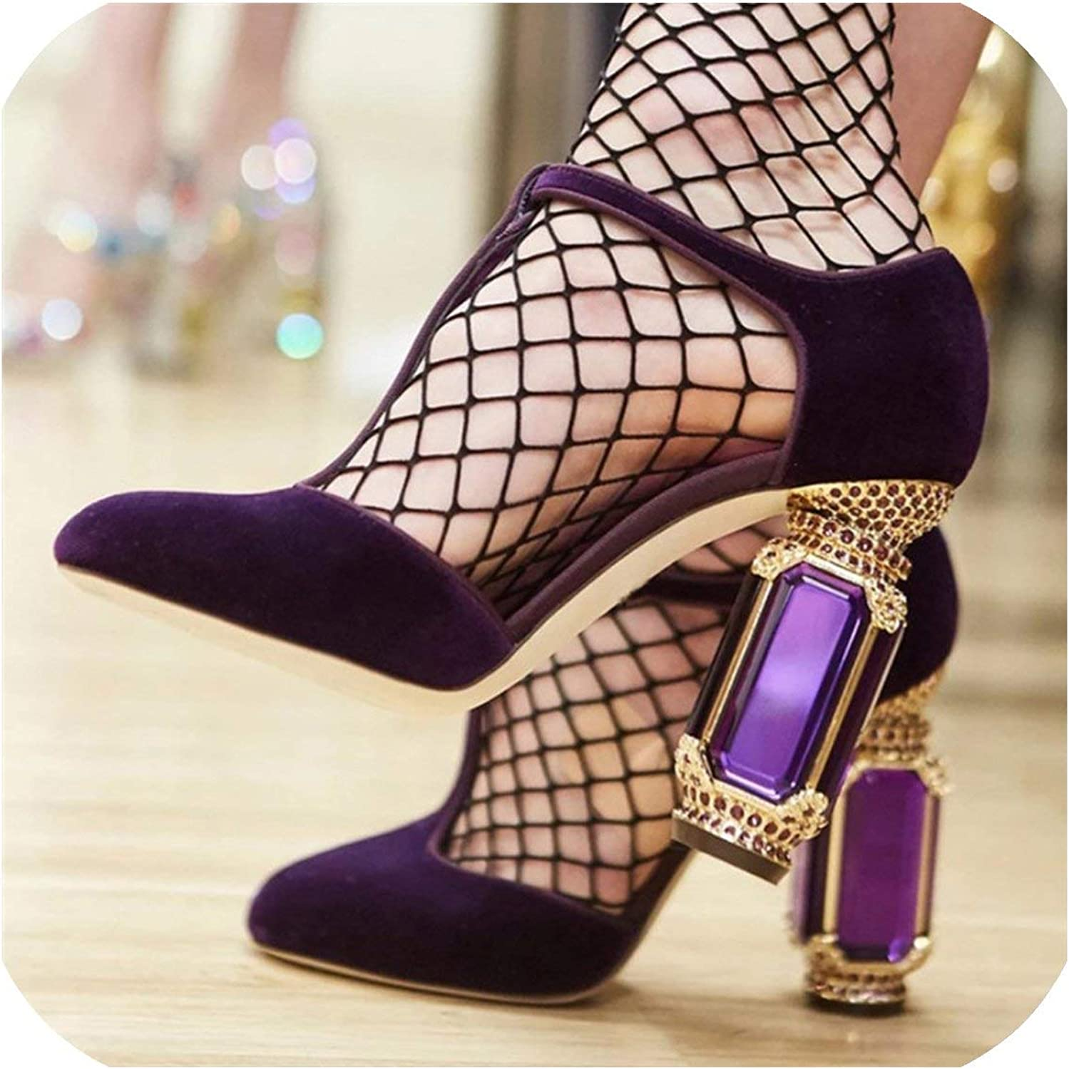 The Hot Rock-sandals Retro Crystal Heel Women Pumps Sexy High Heels Velvet Mary Jane shoes Woman Wedding shoes Stiletto Valentine shoes