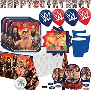 Ultimate WWE Wrestling Birthday Party Supplies Pack With Decorations For 16 Guests With Plates, Cups, Napkins, Tablecover, Balloons, Add An Age Birthday Banner, Table Decorating Kit, and Exclusive Pin