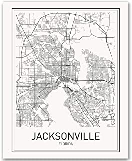 Jacksonville Poster Jacksonville Map City Map Posters Map of Jacksonville Florida Map Print Florida Poster Black and White...