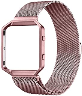 KNS-7 Magnetic Loop Stainless Steel Strap Watch Band for Fitbit Blaze Tracker with Frame Large Replacement Band Accessories for Women Men