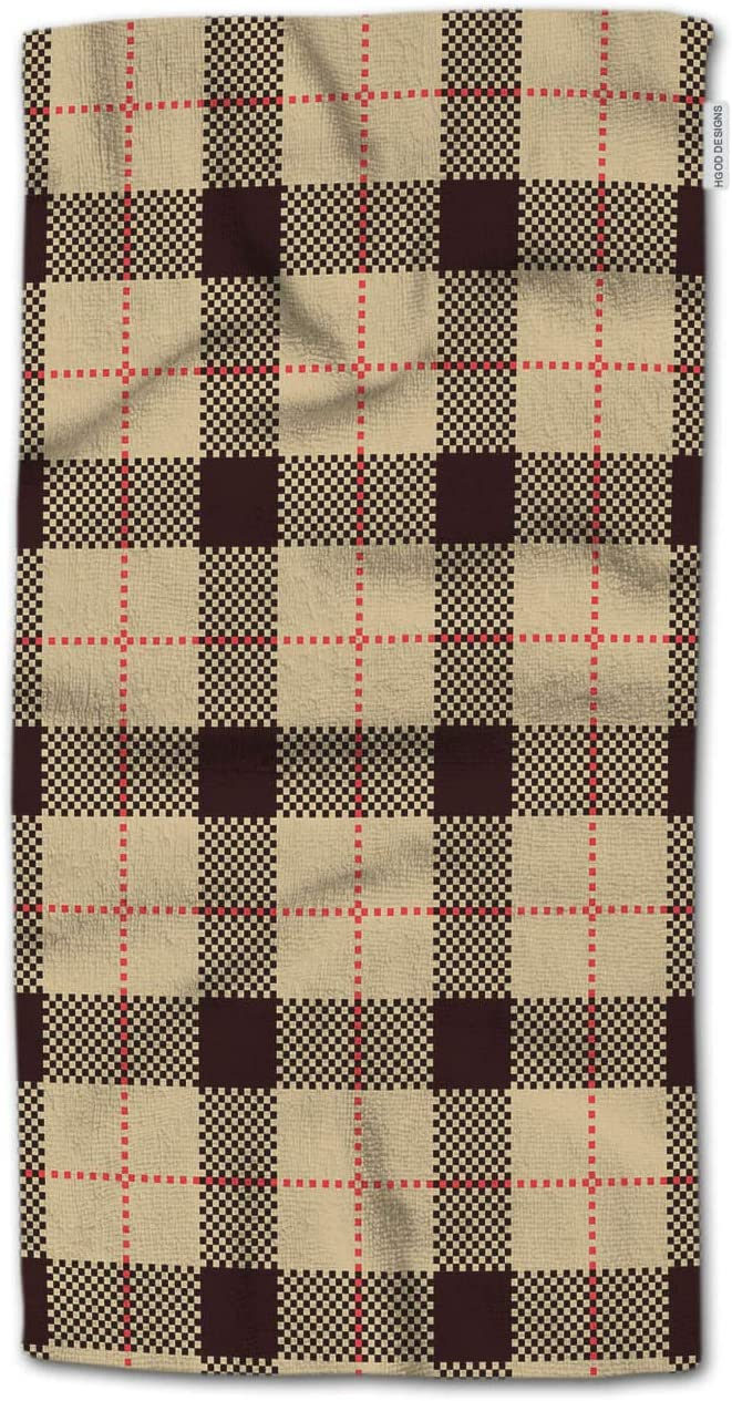 Amazon Com Hgod Designs Hand Towel Plaid Black And Khaki Plaid Tartan And Gingham Patterns Hand Towel Best For Bathroom Kitchen Bath And Hand Towels 30 Lx15 W Home Kitchen