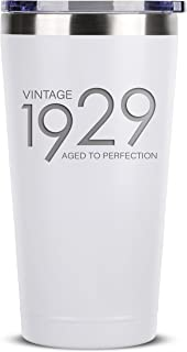 1929 90th Birthday Gifts for Women Men | 16 oz White Insulated Stainless Steel Tumbler w/Lid | Vintage 90 Year Old Best Gift Present Ideas for Mom Dad | Tumblers Party Decorations Supplies Presents