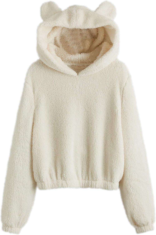 SweatyRocks Women's Cute Long Sleeve Hoodie Fuzzy Fleece Crop Pullover Sweatshirt Tops