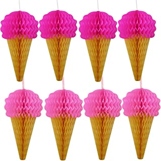 Pink Hanging Honeycomb Ice Cream Decorations - Pack of 8 - Summer Ice Cream Party Hanging Tissue Paper Decorations Are Great For Parties And Events