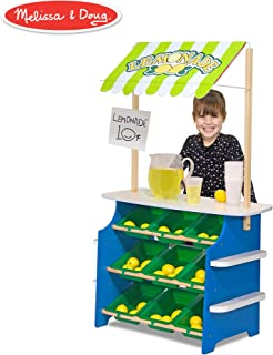 """Melissa & Doug Grocery Store/Lemonade Stand (Play Food, Wooden Play Center, Portable Plastic Bins, Sturdy Construction, 50"""" H x 16.25"""" W x 32"""" L)"""
