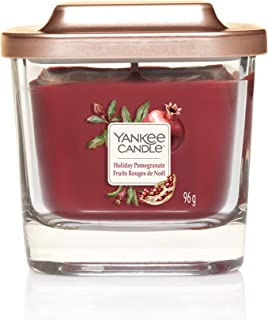 Yankee Candle Elevation Collection with Platform Lid Small 1-Wick Square Candle, Holiday Pomegranate