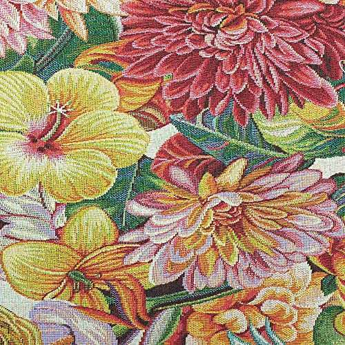 Kt KILOtela Tela de tapicería - Jacquard Gobelino - Retal de 100 cm Largo x 280 cm Ancho   Tropical - Multicolor ─ 1 Metro