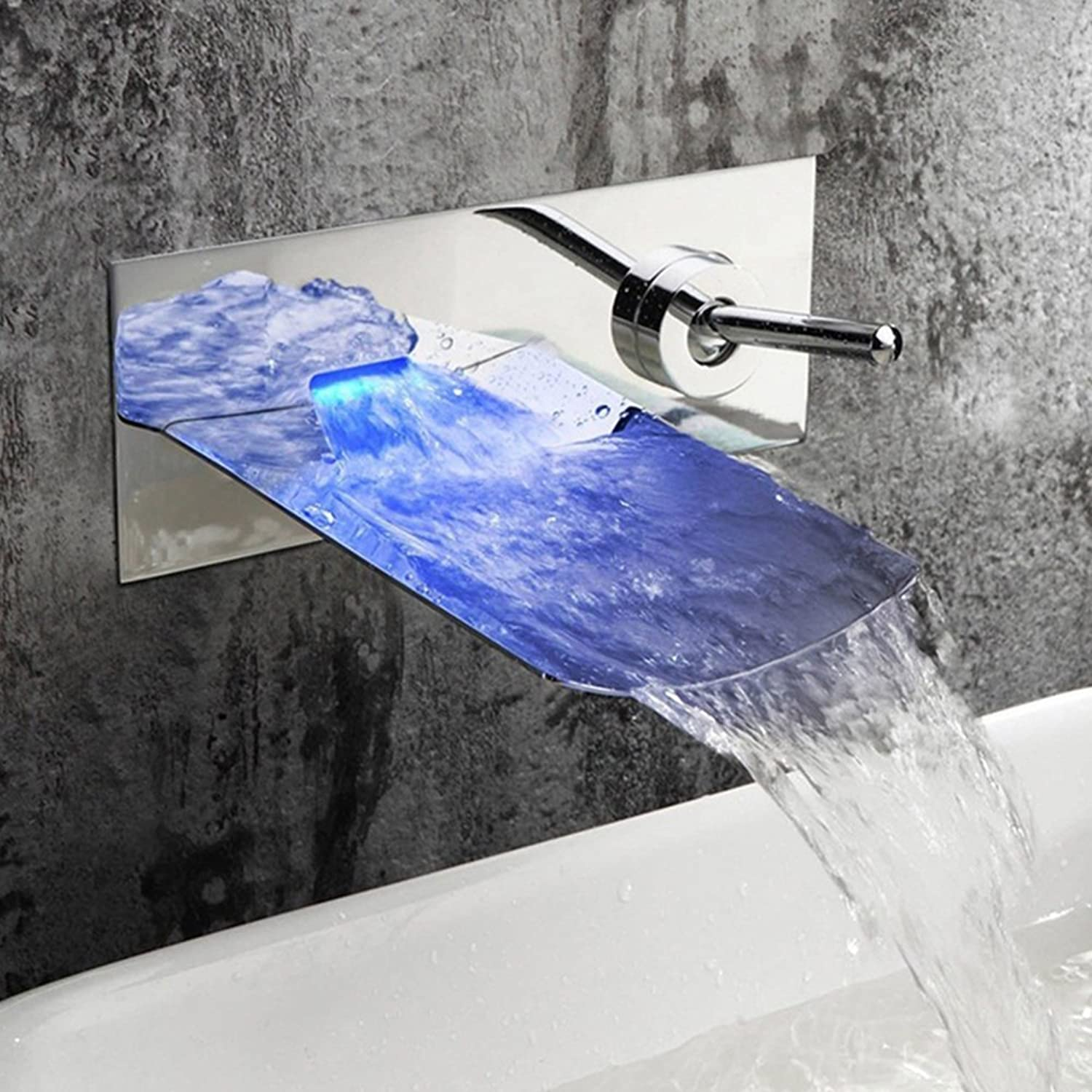 Contemporary Wall Mount LED Waterfall Bathroom Sink Tap Basin Tap Brass Chrome Bathroom Taps Bath Taps with Single Handle Ceramic Valve Single Handle Two Holes