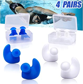 AMZBSR Swimming Ear Plugs for Adults Kids, 4 Pairs Waterproof Reusable Silicone Ear Plugs,for Swimmers Showering Bathing S...