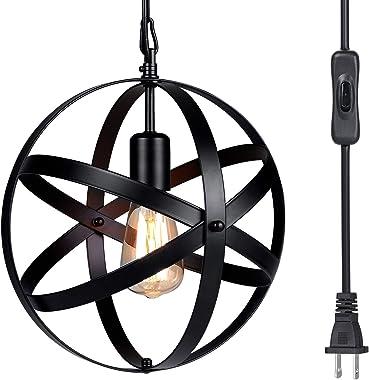 Pendant Light, Tomshine Plug in Spherical Pendant Lighting,Rustic Metal Chandelier Light Fixture for Kitchen Dining Room Farmhouse