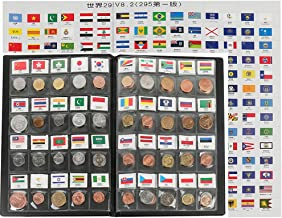 zcccom Classic Gifts 60 Countries Coins Collection Starter Kit Authentic Coins 100% Original Genuine World Coin with Leather Collecting Album Taged by Country Name 295 Flag (60 Countries Coins)