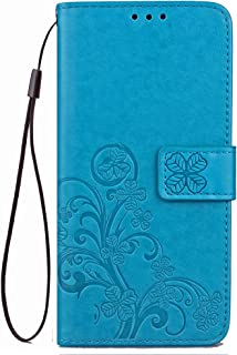 Galaxy J7 Wallet Case 2017,J7 V Case,J7 Prime Case,[Flower Embossed] [Wrist Strap] [Credit Card Holder] [Stand Feature] Leather Wallet Flip Protective Case Cover for Samsung Galaxy J7 2017 (Blue)