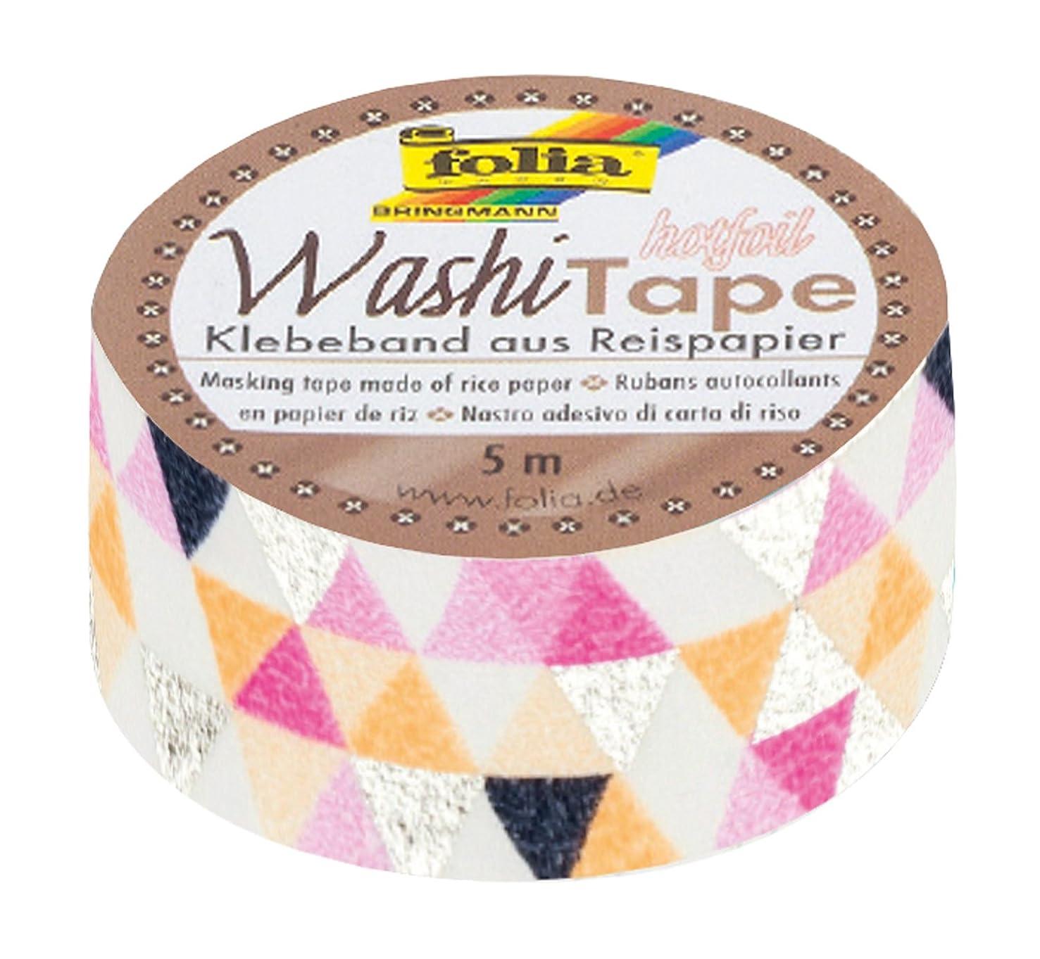 folia 26108?Washi Masking Tape Hot Foil Silver Triangle, 5?M X 15?MM