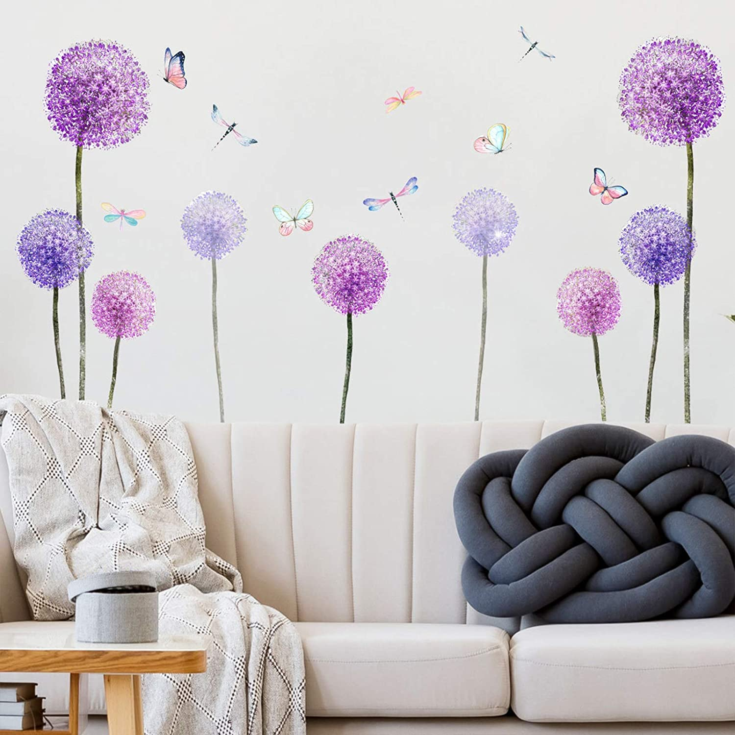 Dandelion Plant Wall Decals, Flying Violet Flowers Butterflies Dragonfly Wall Stickers , DILIBRA Removable Peel and Stick DIY Art Vinyl Mural for Classroom Kids Bedroom Bathroom Nursery Home Decor