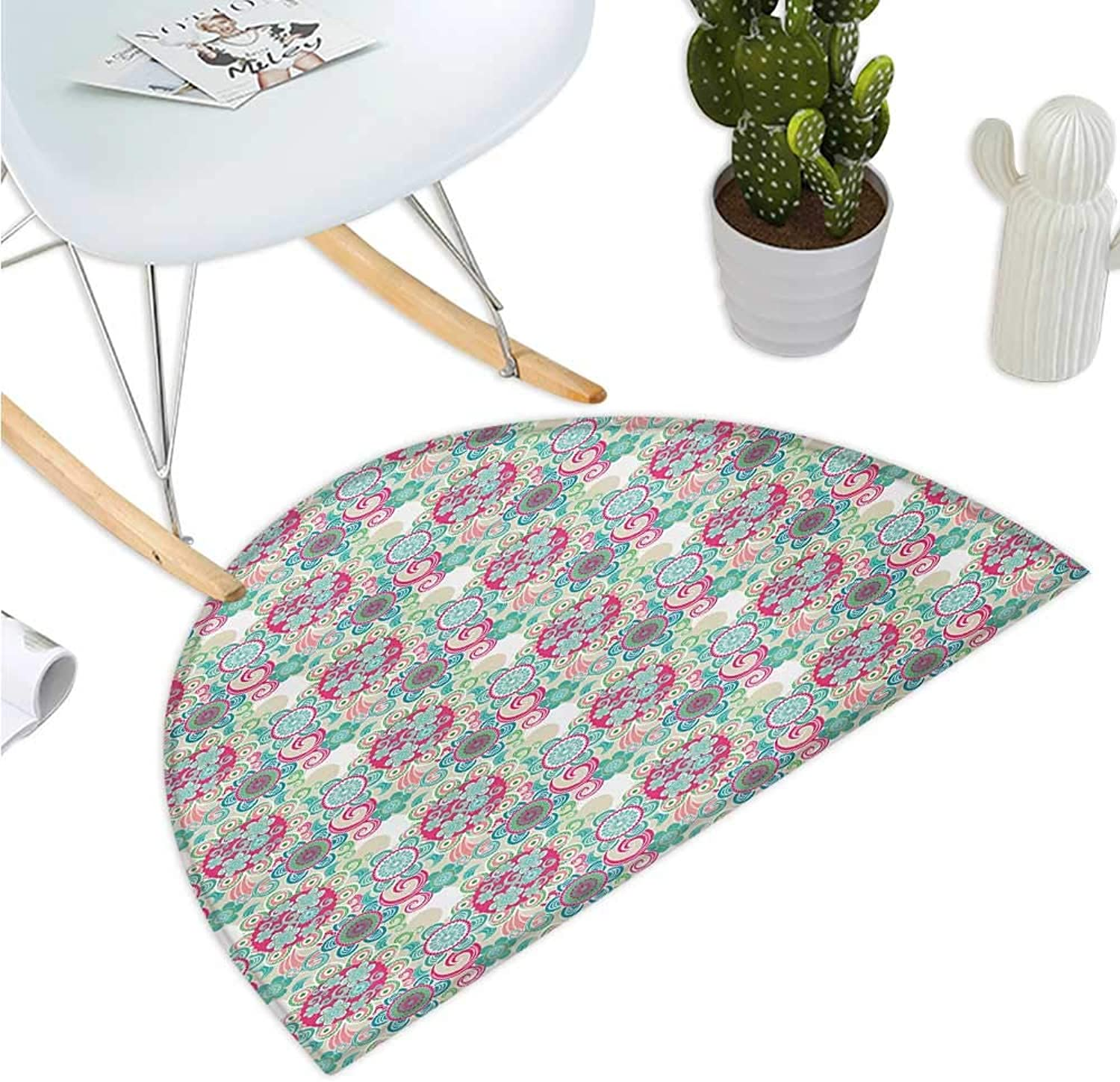 Ethnic Semicircle Doormat South East Asian Motifs of colorful Flowers Oriental Cultures Inspirations Pattern Entry Door Mat H 47.2  xD 70.8  Multicolor