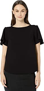 Lark & Ro Amazon Brand Women's Short Sleeve Stretch Woven Flutter Top