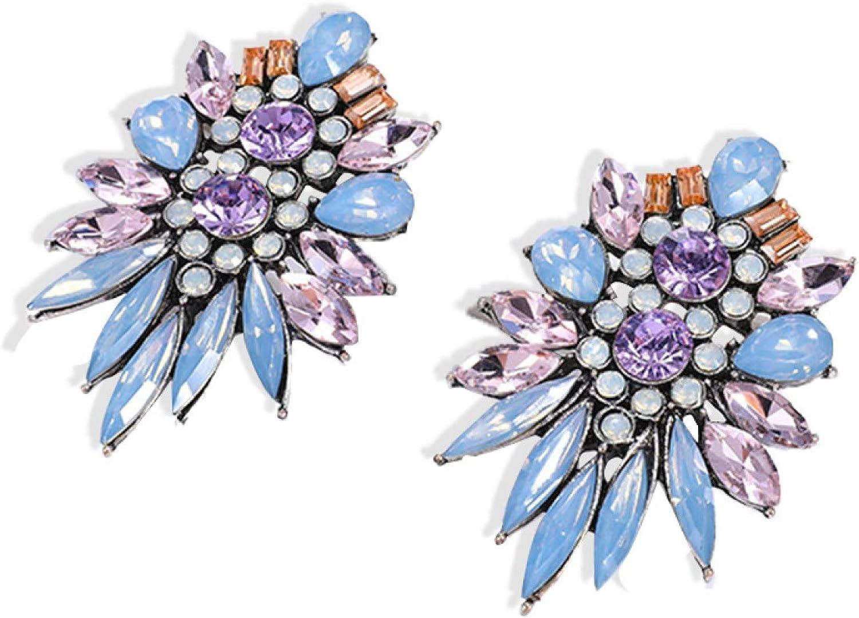Aland Elegant Ear Hoops Exaggerated Earrings Faux Crystal Ear Stud Stylish Luxury Ear Cuff for Women - Light Blue