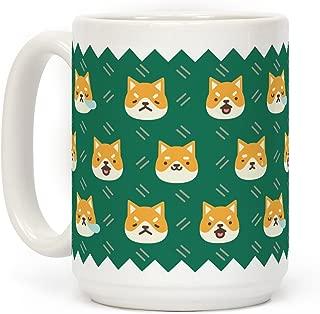 LookHUMAN Shiba Inu Emoji Mug White 15 Ounce Ceramic Coffee Mug