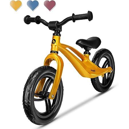Lionelo Bart Bicicleta sin Pedales 39 x 88 x 50-57 cm para niños de hasta 30 kg Ajuste del Asiento y Manillar Bloqueo de Volante Resistente a daños Asa de Transporte Oro