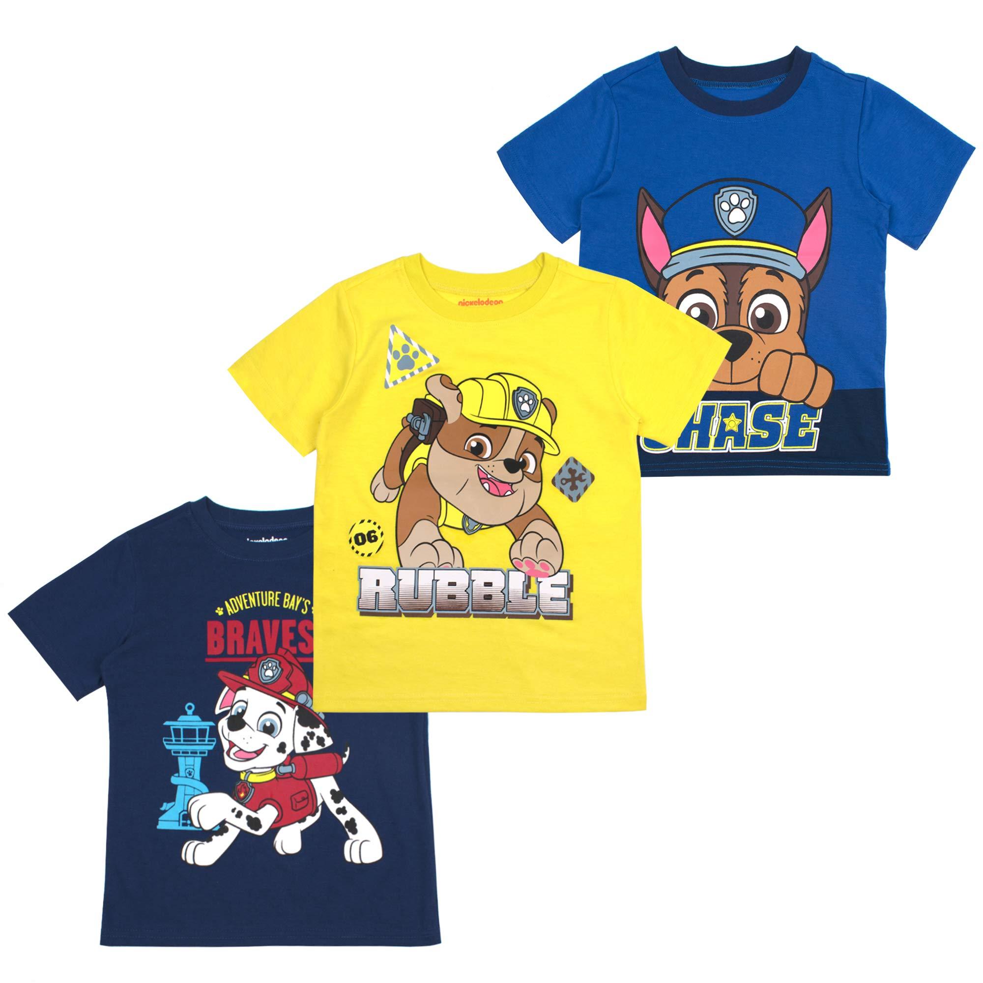 Heather Grey//Red//Navy 3T Nickelodeon Boys Toddler Boys Paw Patrol 3 Pack T-Shirt Bundle