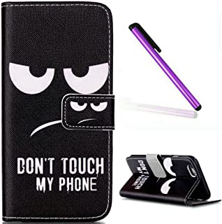 iPhone 6S Case,iPhone 6 Wallet Case,EMAXELER iPhone 6S Flip Folio Case,Beautiful illustration PU Leather Flip Protective Case Cover with Stand Wallet for Apple iPhone 6/6S-Don't Touch My Phone
