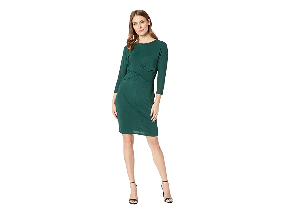 Vince Camuto Long Sleeve Cross Front Bodice Dress (Hunter) Women