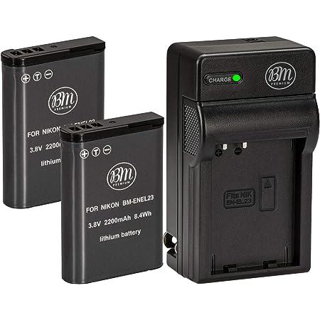 Traje y Cargador Micro USB Compatible para Nikon Coolpix P600 S810c P900S Digital C/ámara 2 Paquetes DSTE EN-EL23 Li-Ion Bater/ía
