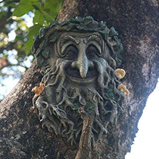 JHP Tree Face Sculpture, Hand-Painted Greenman Tree Face Garden Decoration for and Home Décor
