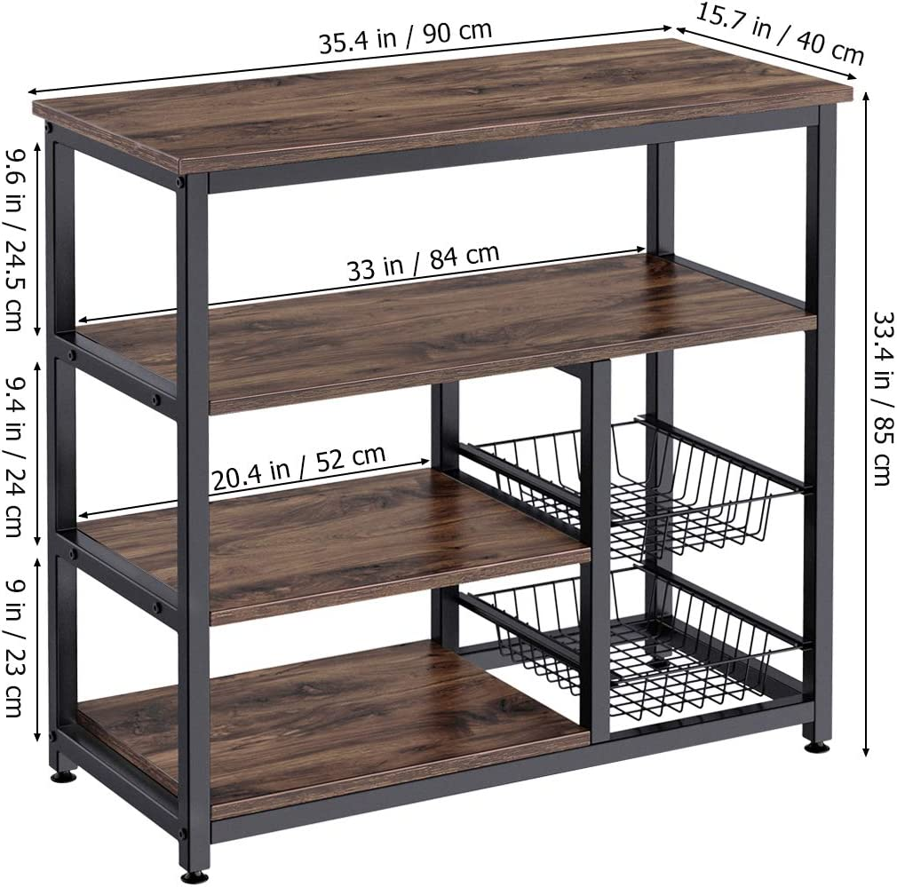Rustic Brown 4 Tier+ 4 Tier Microwave Storage Stand with 2 Slide-Out Mesh Baskets Pots and Pans Organizer Workstation Vintage Utility Shelf for Spices Homemaxs Kitchen Baker/'s Rack
