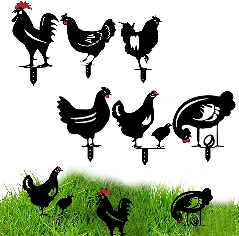 CDIYTOOL 6Pcs Chicken gift Silhouette Yard Max 84% OFF Art Garden Family Acrylic