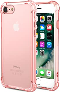 CaseHQ iPhone 7 Case, iPhone 8 Case,Crystal Clear Shock Absorption Bumper Slim Fit,Heavy Duty Protection TPU Cover Case for Apple iPhone 7(4.7 inch)(2016)/iPhone 8(4.7 inch)(2017) -Rosegold