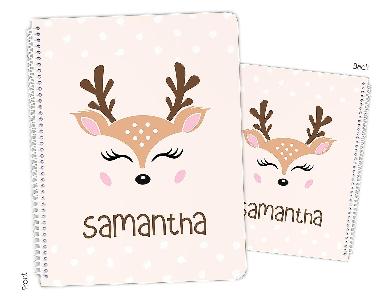 Personalized Cute Reindeer New color Choice Deer Spiral Bound Sketchbook Notebook