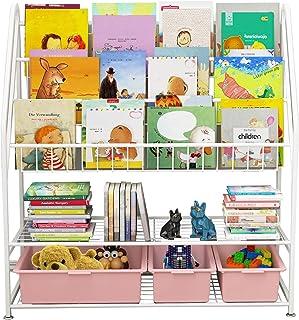 Bibliothèque à 5 étages pour enfants, étagère sur pied, rangement pour jouets, livres, livres, magazines, 82 x 30 x 97 cm,...