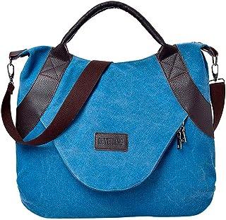 Wultia - Bags for Women Retro Women's Canvas Zipper Shoulder Bags with Corssbody Bag&Handbag Bolsa Feminina Blue
