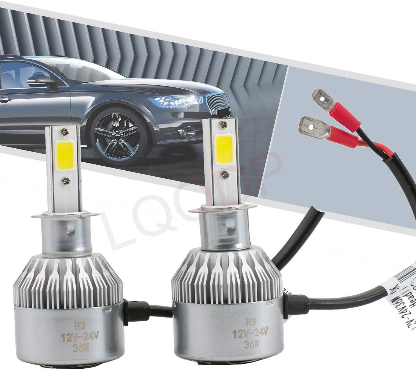 LQQDP 2pcs H3 6000K Soldering Cool White Super beauty product restock quality top Conversion Bulbs 7200LM COB K LED