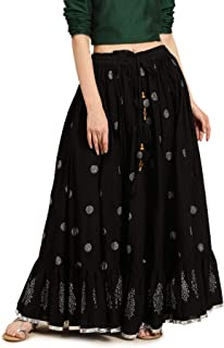 Soch Cotton a-line Skirt (CWBSSKS021A_ Black_ X-Small)