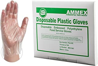 AMMEX Plastic Disposable Gloves - Clear, 1 Mil, Embossed, Polyethylene, Food Service, Large, Case of 1000