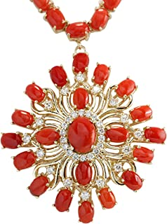 53.01 Carat Natural Red Coral and Diamond (F-G Color, VS1-VS2 Clarity) 14K Yellow Gold Luxury Necklace for Women Exclusive...
