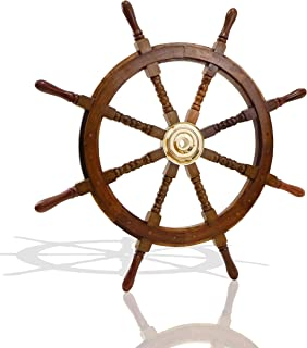 Nautical Specials SH 8764-VC Nautical Sheesham Wood Ship Wheel with Brass Center Home Decoration Gifts (36
